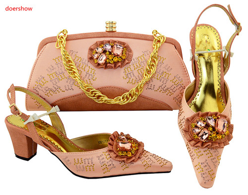 doershow Italian peach Shoes with Matching Bags Nigerian Shoes and Matching Bags African Women Wedding Shoes and Bag Set HVP1-17 doershow fashion women italian matching shoe and bags set with rhinestones high quality african wedding shoes and bag hvb1 87