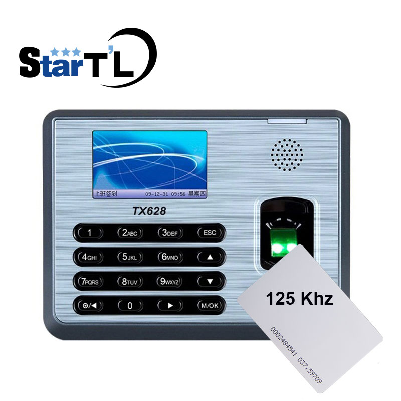 Biometric Fingerprint ID Card Reader Time Attendance Clock Employee Recorder ZK Tx628 Free Shipping zk tx628 tcp ip fingerprint time attendance with free software zk biometric fingerprint time clock