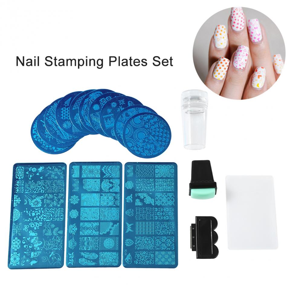 13Pcs Lace Rose Flower Forest Image Nail Stamping Plates + 2 Stamper Scraper Set Nail Art Stamping Stamp Plate Nail Art Tools forest railway throw wall art tapestry