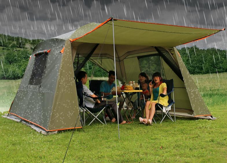 Imperméable à la pluie double couche extérieur sun-shading 4 coins tonnelle de jardin/tente de camping de partie multijoueur/abri d'auvent/abri de soleil