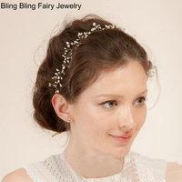 Charming Crystal Vine Pearl Wreath Bridal Headband Gold Hair Vine Wedding Hair Accessories Bridal Jewelry Free