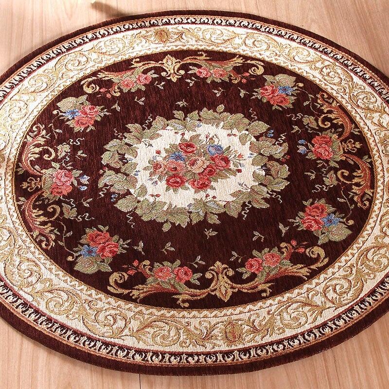 Tapis Jacquard rond tapis d'absorption d'eau tapis solide confortable pour chambre salon salon