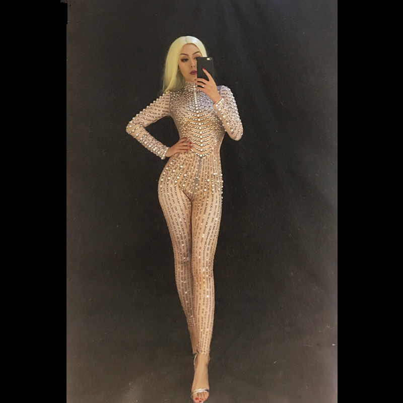 Women Sexy White Jumpsuit Full Of Sparkling Pearl Crystals Nightclub Party Dancer Singer Bodysuit Stage Wear Costume Performance