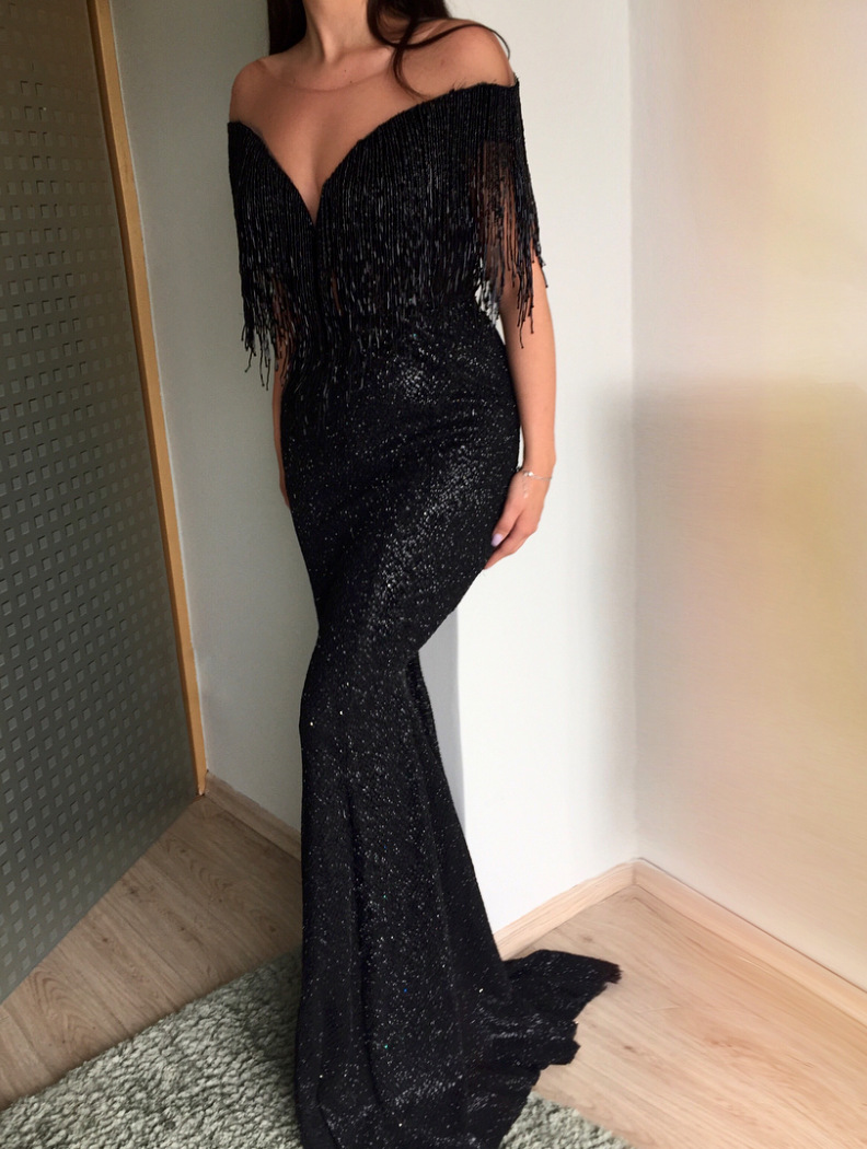 Sexy V-neck Black Tassel Long Evening Dresses Formal Dress Women Party Gowns 2019