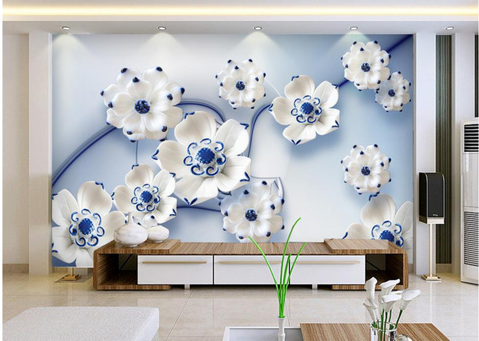Us 10 5 65 Off 3d Bathroom Wallpaper Blue Lotus Jade Carving Tv Background Wall Photo Mural Wallpaper Home Decoration In Wallpapers From Home