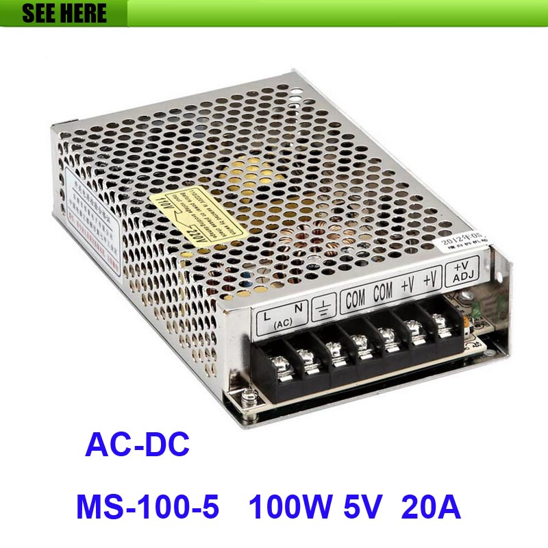 Free Shipping 100W 5V 20A Single Output Mini Size Switching Power Supply For LED Strip light MS-100-5