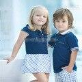 2016 Девушки Детей Платья Дизайнер Бренда Проверка Платье девочки платья Летний Стиль Принцессы платье девушки детская одежда