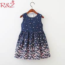 R&Z 2018 Baby Girls Dresses Korean Version of The New Summer Clothes Butterfly Print Sleeveless Vest Dress Children's Clothing