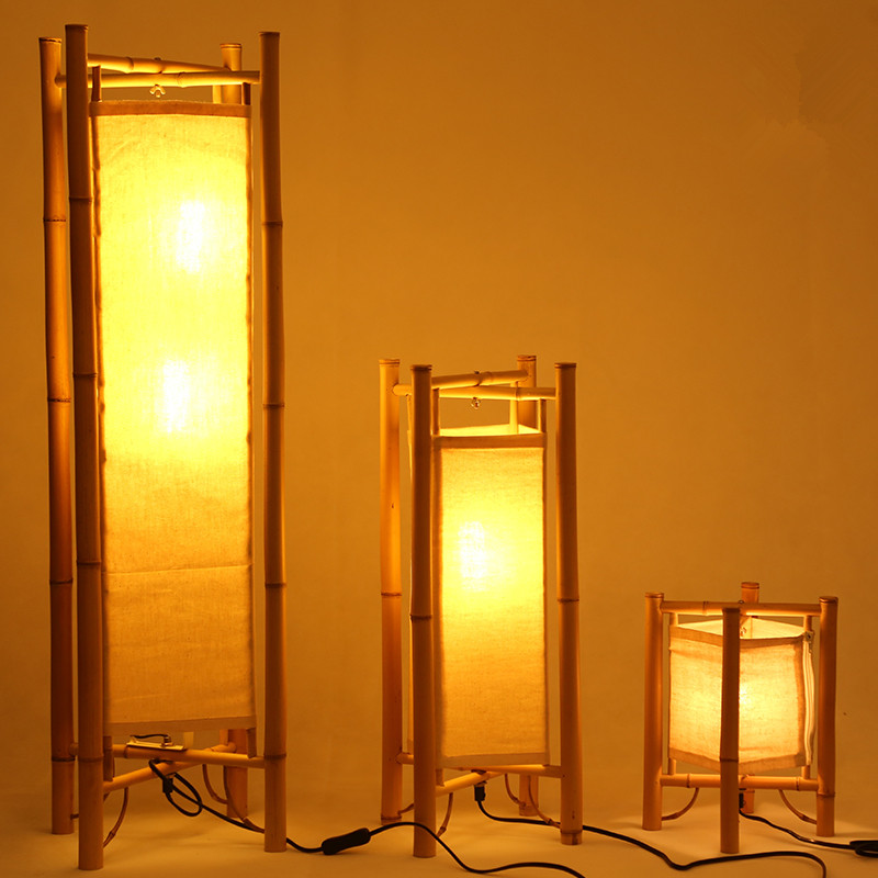 Vintage Design Bamboo Floor Lamp Standing Japan Style