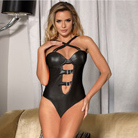 Plus Size Women Sexy Lingerie Black Leather Top Open Lingerie Sexy Chemise Sex Underwear for Women