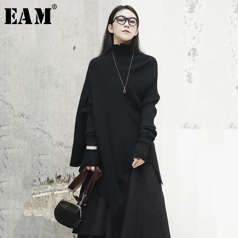 [EAM] Strapless Temperament Knitting Sweater Loose Fit Irregular Collar Long Sleeve Women New Fashion Autumn Winter 2019 JZ081