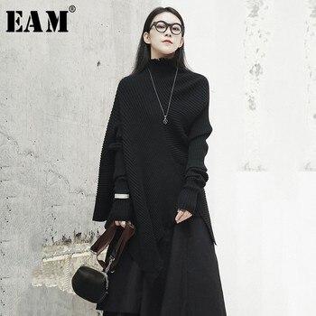 [EAM] 2019 nouveau printemps noir col montant évider noir à manches longues en vrac irrégulière tricot pull femmes mode JH432