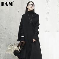 [EAM] 2018 New Autumn Winter Stand Collar Holes Long Sleeve Black Loose Irregular Loose Knitting Sweater Women Fashion JH432