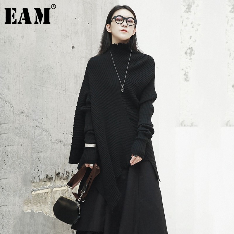 [EAM] 2019 New Spring Black Stand Collar Hollow Out Black Long Sleeve Loose Irregular Knitting Sweater Women Fashion JH432