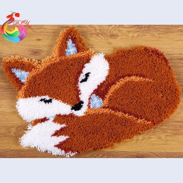 Sleeping Fox Latch Hook Rug Kits Crochet Hooks Carpet Embroidery Sch Threads Set For Hobby