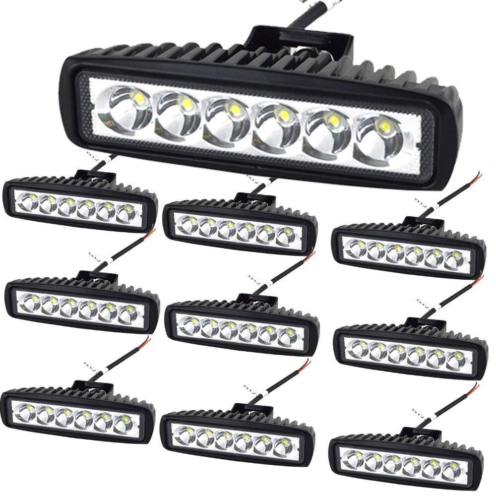 10Pcs 6 18W LED Light Bar 12V 24V Motorcycle Offroad 4x4 ATV Spot Daytime Running Lights