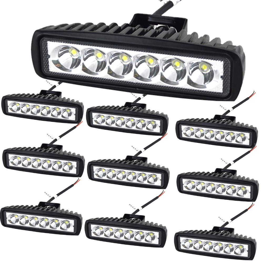 10 pcs 6 18 w LED Lumière Bar 12 v 24 v Moto Offroad 4x4 ATV Spot feux Diurnes Camion Tracteur Avertissement Travail Spotlight