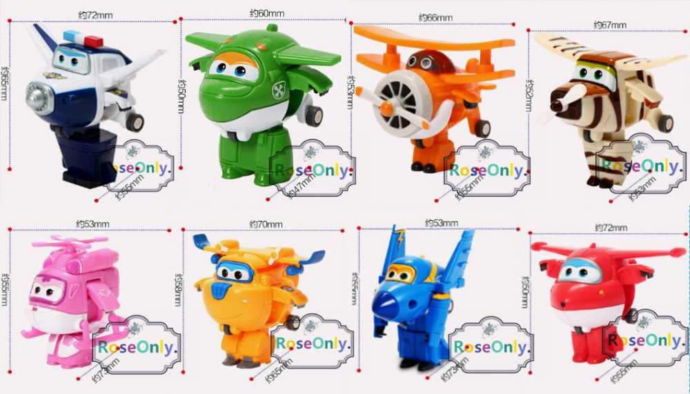 2016 New styles 8pcs/lot Super Wings toys Mini Planes 7cm Transformation Robot Action Figures toys baby toys for gifts