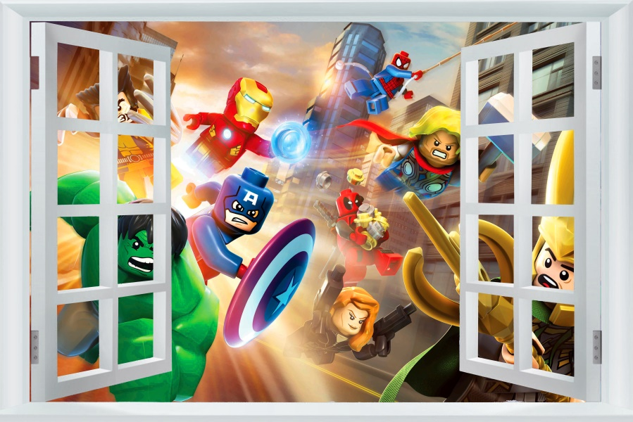 Avengers Autocollant Captain America Papier Peint Lego Movie Poster Marvel Hulk Stickers Muraux Thor Murale Toile Art Décoration 2499 Dans