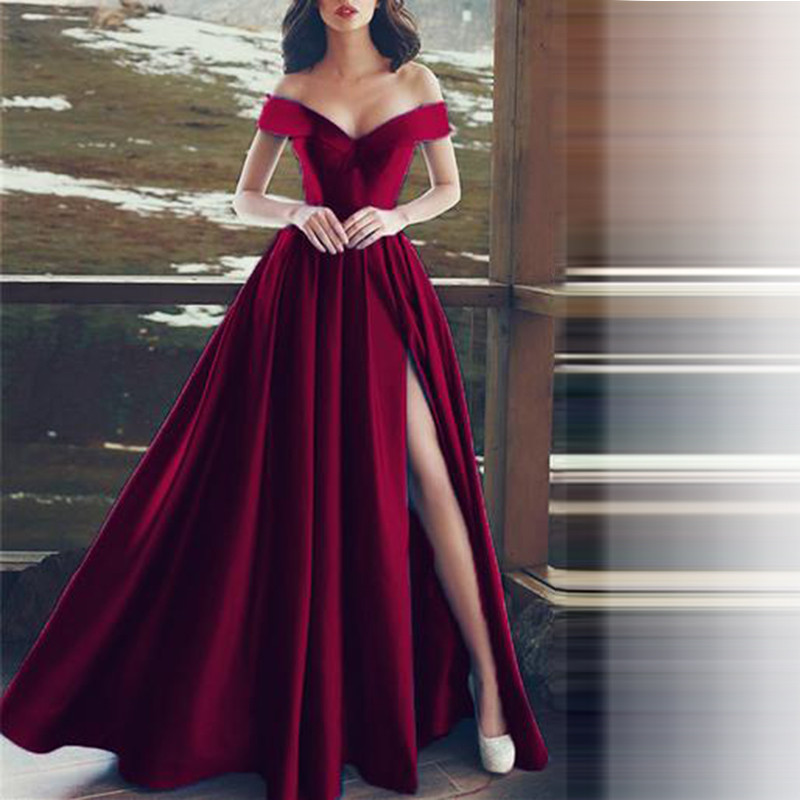 Burgendy Muslim   Evening     Dresses   2019 A-line V-neck Off The Shoulder Slit Islamic Dubai Saudi Arabic Long   Evening   Gown Prom   Dress