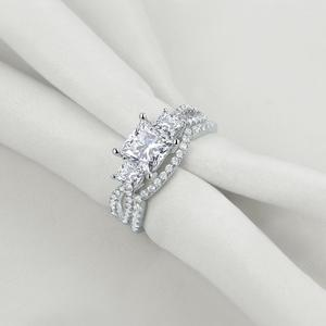 Image 2 - Newshe Solid 925 Sterling Silver Wedding Engagement Ring Set For Women 1.5 Ct Princess Cut AAA Cubic Classic Jewelry 1R0053