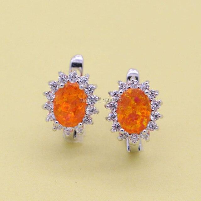 Овальный дизайн ювелирные изделия оранжевый огненный опал 925 марка циркония серьги к юбилею