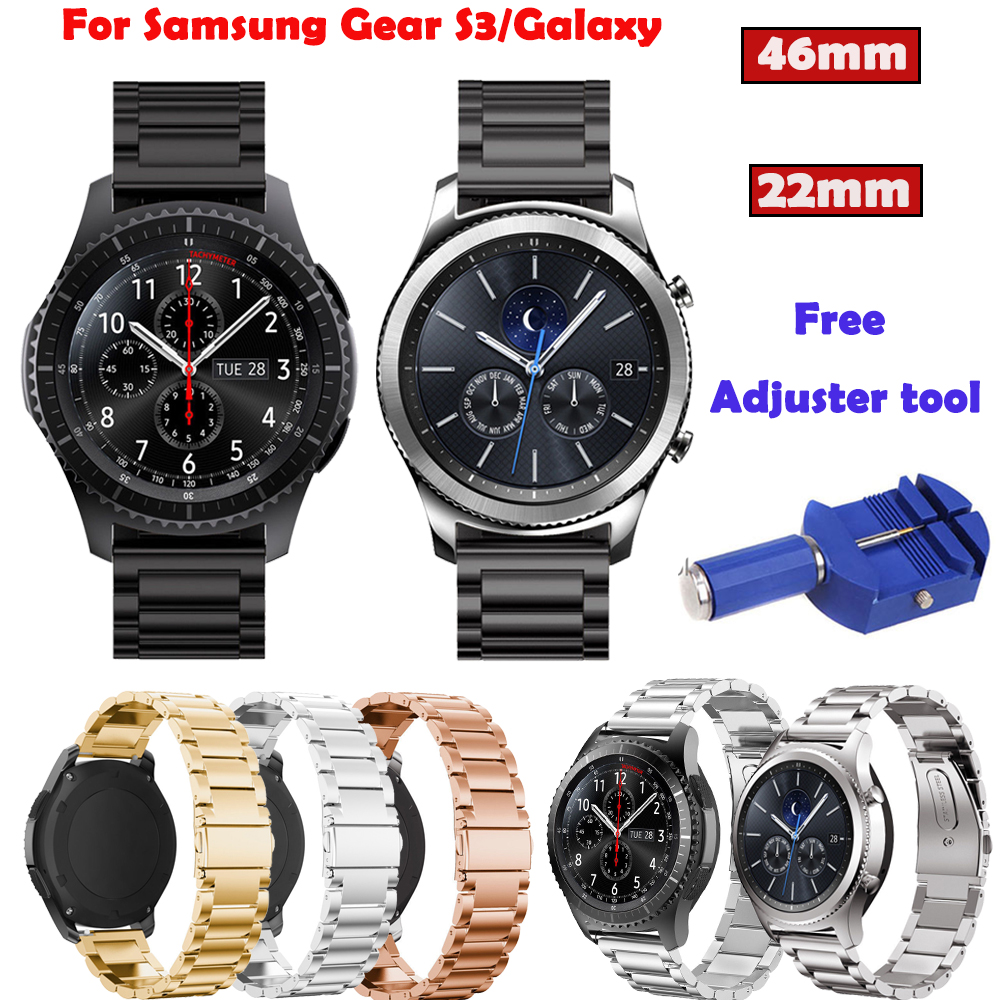 Stainless WatchBand+Free Adjuster Tool For Samsung Gear S3 Frontier Classic 46mm Smart Watch Strap For Huami Amazfit Sport 22mm