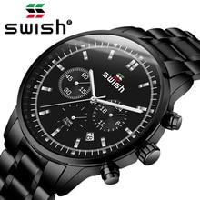 SWISH 2020 İzle erkekler moda spor erkek Quartz saat saat erkek saatler Top marka lüks iş su geçirmez izle