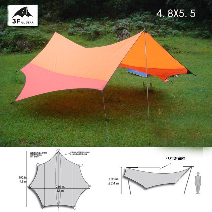 3F UL gear 5.5*4.8m UV sun shelter shade tarp awning canopy 7 Angle hiking party BBQ trekking fishing beach outdoor c&ing tent-in Tents from Sports ... & 3F UL gear 5.5*4.8m UV sun shelter shade tarp awning canopy 7 ...
