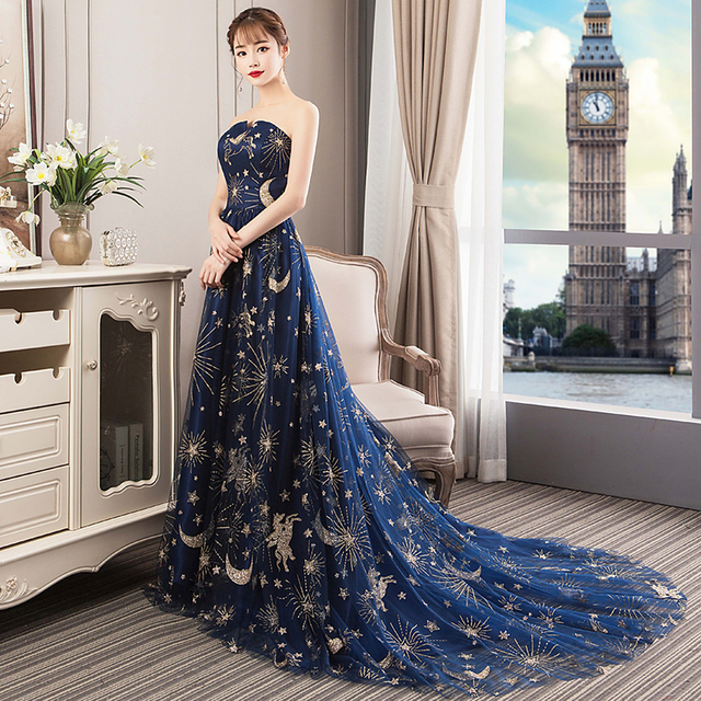 Formal Prom Dresses 2019 Strapless Wedding Party Evening Gown With Train Sexy Long Prom Dress 5