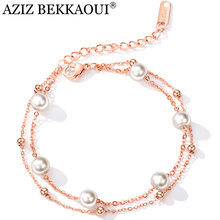 AZIZ BEKKAOUI Elegant Pearl Bracelet Double Fair Charm Bracelets & Bangles Silver/Rose Gold Color Simulated Pearl Beads Jewelry(China)