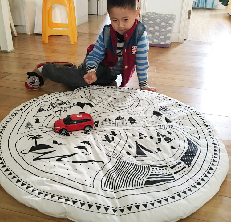 цена на Cotton Kids Game Mats Baby Crawling Blanket Round Play Mat Children Play Rug Racing Games Carpet Infant Room Toys Play Carpet