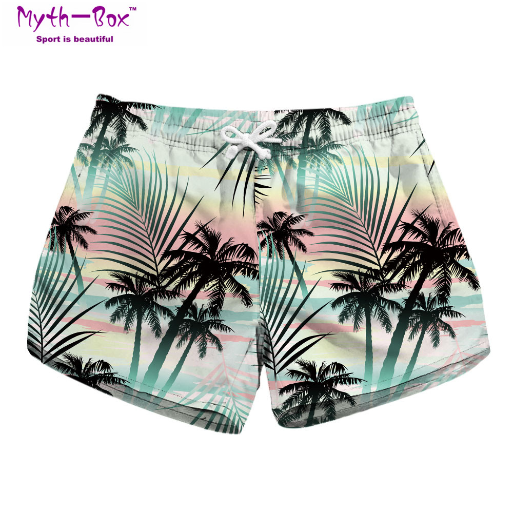 Summer Women Beach   Shorts   Mini Water Sport Pants Trees 3D Print Brand Gym Surfing   Short   Pocket Female Travel Surf   Board   Feminino