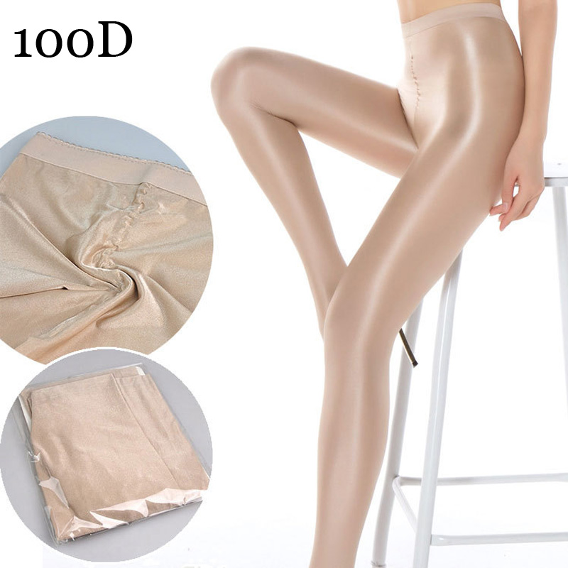Show details for 100D Women's Sexy Shiny Glossy Oil Pantyhose stirrup tights thick good quality One Line Crotch oil pantyhose