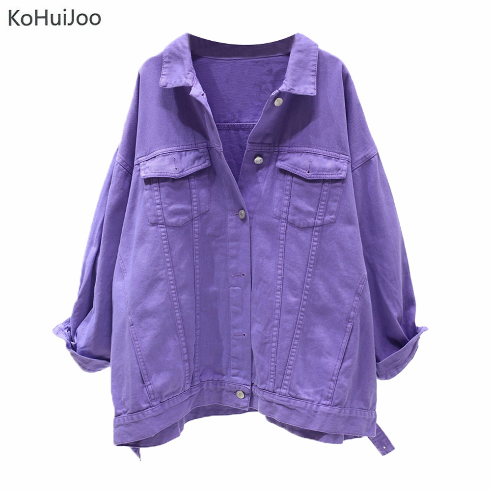 KoHuiJoo 2019 Fall Ladies   Basic     Jacket   Slim Women Loose Plus Size Boyfriend Denim   Jackets   Slim Pockets Hip Hop Coats Green