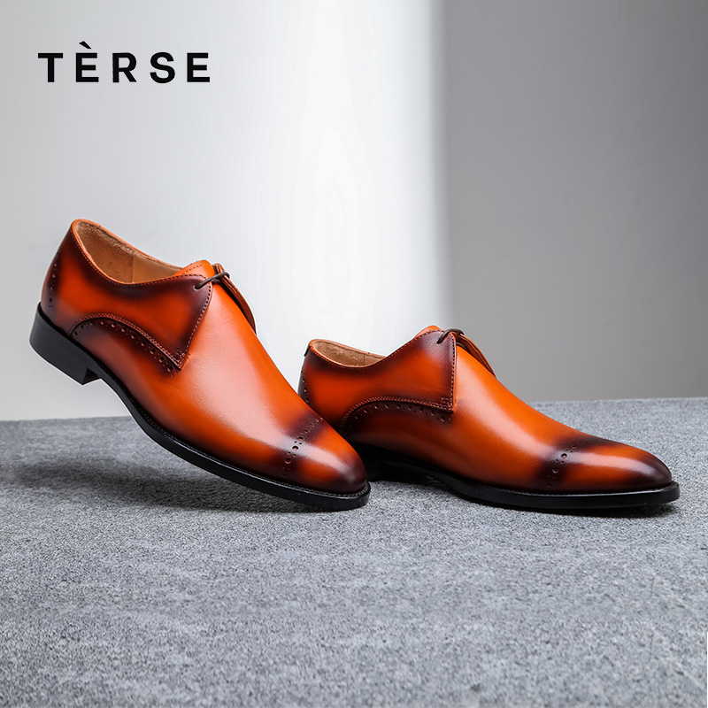 цена на TERSE New Orange derby shoes handmade genuine leather good year welted men dress shoes luxury breathable comfortable 1515-2