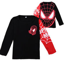 2-8Y Kids Baby Boys Girls Toddlers T shirts Spider Man Cartoon Tops Clothes long sleeve brand t shirt for boys free shipping