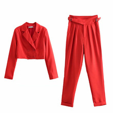 Short Suit 2-piece Set Women Double Breasted Shirt + Buckle Pants Casual Spring Vintage Female Fashion