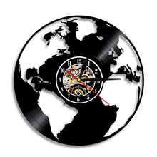 Buy map clock and get free shipping on aliexpress 1piece world map led silhouette backlight travel around the world vinyl record wall clock home decor gumiabroncs Gallery