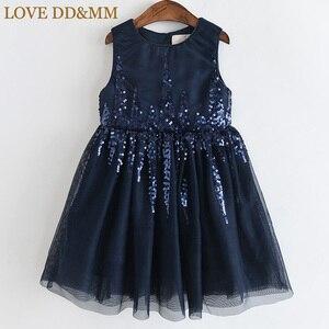 Image 2 - Amour DD & MM filles robes 2019 été nouveaux vêtements pour enfants filles mode paillettes couture maille sans manches robe de princesse
