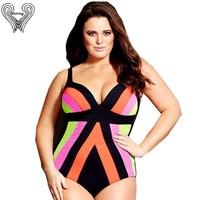 2XL 5XL Plus Size Striped Print Swimsuit Extra Large One Piece Swimwear Big Push Up Swimsuit