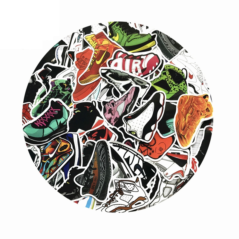 100PCS AJ Shoes Stickers Mixed Cartoon Jordan SNEAKER Stickers For Notebook Bike Luggage Box Graffiti Cool Waterproof Stickers