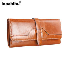 First Layer Oil Wax Cowhide Women Wallets Genuine Leather Vintage High Quality Long Female Wallet Money Credit Cards Coin Purses