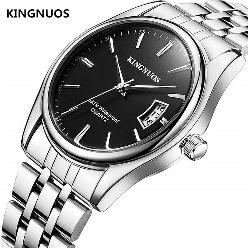 Full Stainless Steel Men Watch Fashion Male Date Calendar Clock Sports Watchband Waterproof Man Quartz Wrist Watches KINGNUOS(China)
