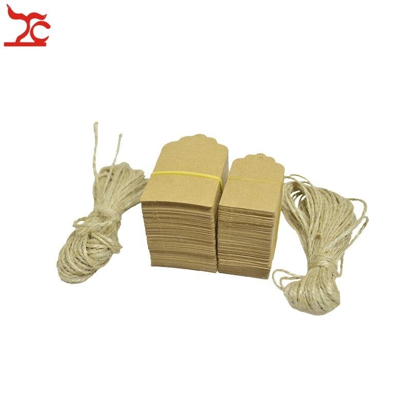 Wholesale 100Pcs Brown Kraft Paper Scallop Head Tags Luggage Wedding Note Label+Jute String DIY Blank Kraft Travel Gift Hang Tag