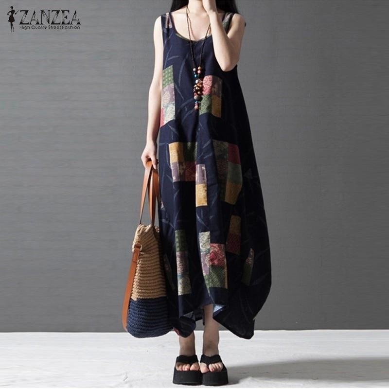 Loose women casual dress 2017 zanzea verano sin mangas impreso vintage maxi larg