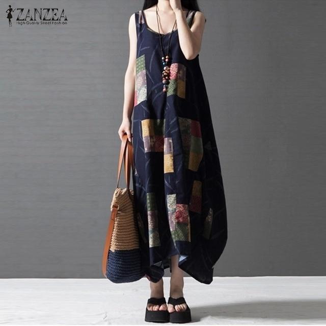 Loose women casual dress 2017 zanzea verano sin mangas impreso vintage maxi largo de lino vestidos de playa beach dress vestidos