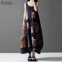 Women Casual Loose Dress 2016 ZANZEA Summer Sleeveless Vintage Printed Long Maxi Linen Beach Dresses Beach