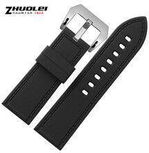 26 mm de caucho negro deporte Diver reloj correa de la venda