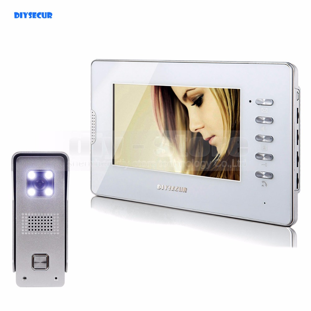 "DIYSECUR New 7"" Wired Video Door Phone Video Intercom Doorbell Home Security 1 Camera 1 Monitor"